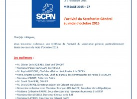 Agenda du SG du SCPN - Octobre 2015