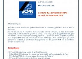 Agenda du SG du SCPN - Novembre 2015